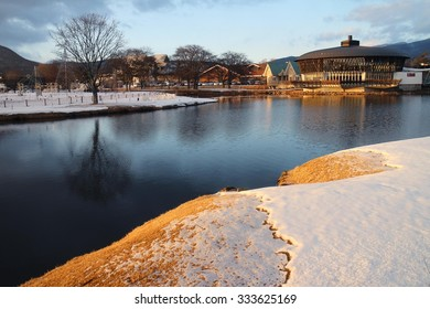 Karuizawa, Japan - February 8, 2015 : Lake in Prince Shopping plaza.