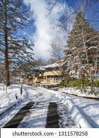 Karuizawa, Japan - January 31, 2019 : Villa landscape in Hosinoya Karuizawa on the day of snow cover, Here has been raised as a good resting place.