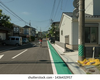 KARUIZAWA, JAPAN - June 13, 2019: A popular means of going around the small town of Karuizawa is via bicycle. This is particularly enjoyable during the warmer months.