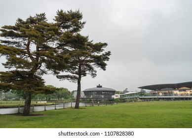 Karuizawa, Japan - May 30, 2018: Karuizawa Prince Shopping Plaza is a huge, sprawling, very modern discount fashion outlet in the beautiful mountain resort town of Karuizawa.