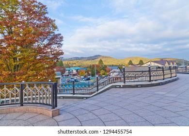 Karuizawa, Japan - October 2018 : Karuizawa Station is a railway station in Karuizawa, Nagano, Japan.