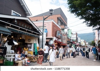 Karuizawa, Japan-Sept 2018: Kyu-Karuizawa Ginza is a shopping street suited for a stroll or for buying souvenirs and local desserts, famous tourist spot.