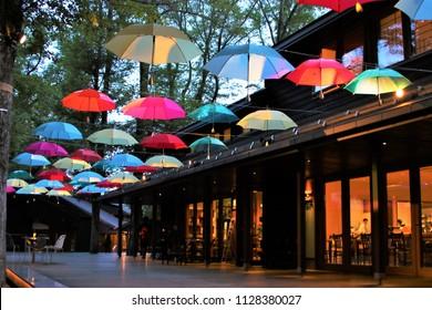 Karuizawa, Nagano, Japan / June 7th, 2018: Light up at Umbrella sky at Harunire terrace