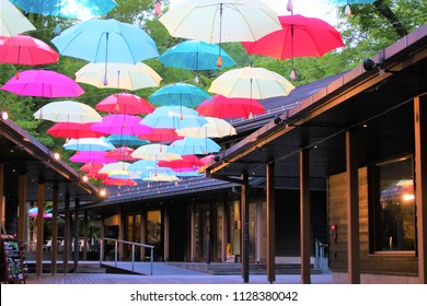 Karuizawa, Nagano, Japan / June 7th, 2018: Umbrella sky at Harunire terrace in evening