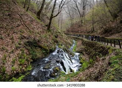 Karuizawa, Nagano, Japan - May 10 2016: A walkway at Shiraito Falls,found deep in the mountains of Karuizawa.