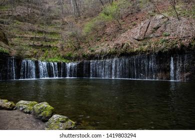 Karuizawa, Nagano, Japan - May 10 2016: The famous Shiraito Falls, found deep in the mountains of Karuizawa.