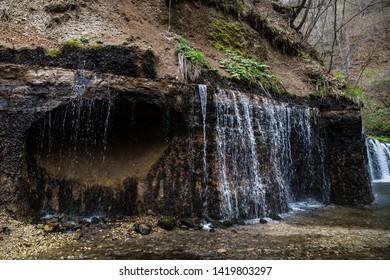 Karuizawa, Nagano, Japan - May 10 2016: Waters of Shiraito Falls, found deep in the mountains of Karuizawa.