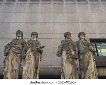 Karyatiden (meaning Caryatids) in front of the Kunsthalle (Art Gallery) by Leo Muesch unveiled in1879 in Duesseldorf, Germany