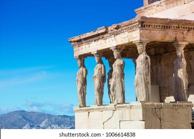 Karyatides statues, Erehtheio, on the Acropolis in Athens, Greece