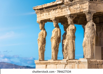 Karyatides statues, Erehtheio, on the Acropolis in Athens, Greece