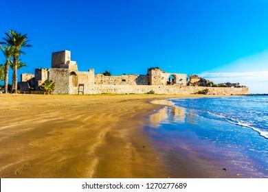 Karykos and Kizkalesi view from beach in Mersin