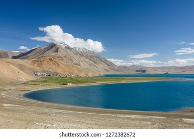 Karzok village and Tso Moriri Lake located in Rupshu valley in Ladakh, India