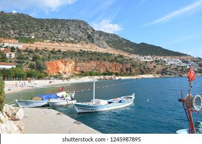 Kas, Antalya, Turkey: November 1, 2014: Small beach near Kalkan port.
