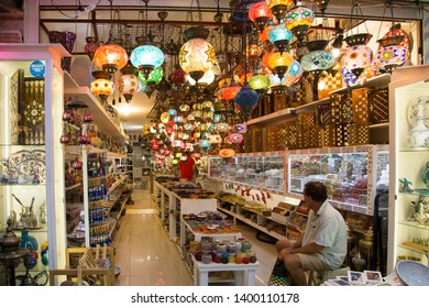 Kas, Antalya/TURKEY - August 16 2014: Stained glass lampshades and souvenir shop in Kas.