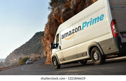 Kas / Turkey - 10.08.18: Delivery truck of Amazon Prime