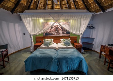 Kasane, Botswana - April 7, 2019 : Chalet interior of the Chobe Safari Lodge in Kasane. This lodge is situated on the banks of the Chobe River at the border of Chobe National Park. Hdr processed.