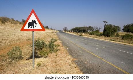 Kasane - Botswana : July 2017:  road sign warning of possible elephant crossing on tarmac highway north of Botswana.