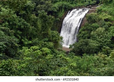 Kasara / India 29 July 2017  View of the Vihigaon Waterfall or ashoka waterfall at Kasara Maharashtra India
