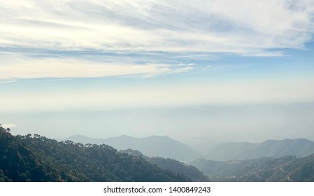 Kasauli foggy mountain view in the morning.