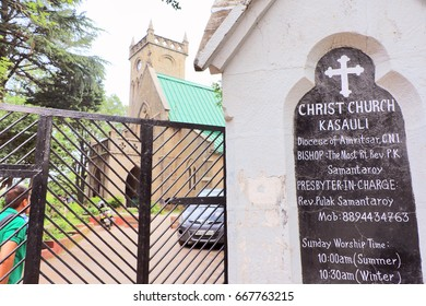 Kasauli, India - June 26, 2017: The Historic Christ Church examples of classical Gothic style of architecture. The church has beautiful stained glass windows, built in the British colonial era.