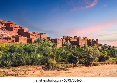 Kasbah Ait Ben Haddou in the desert at sunset, Morocco, Africa