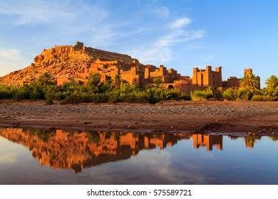 Kasbah Ait Ben Haddou in the Moroccan Atlas mountains at sunset