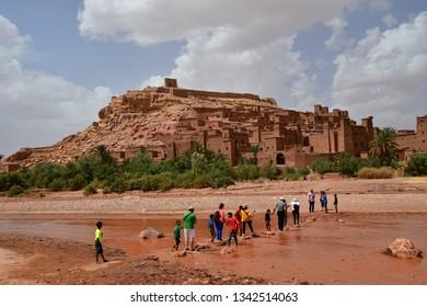 Kasbah Ait Ben Haddou, near Ouarzazate, Morocco. World Heritage of UNESCO. 14 aug 2018.