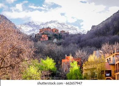 Kasbah du Tounkal, The quite village of Imlil, in The High Atlas Mountain of Morocco, Starting Point trekking to Toubkal Mountain