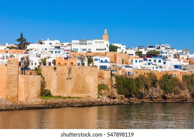 The Kasbah of the Udayas fortress in Rabat in Morocco. The Kasbah of the Udayas is located at the mouth of the Bou Regreg river in Rabat, Morocco. Rabat is the capital of Morocco.