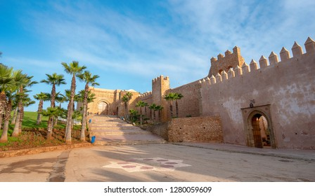 The Kasbah of the Udayas ( Oudayas ) ancient fortress in Rabat in Morocco is located at the mouth of the Bou Regreg river. the capital of Morocco. the Almohad gate Bab Oudaia front of fortified wall