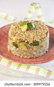 Kasha with zucchini, Russian food, vegetarian food