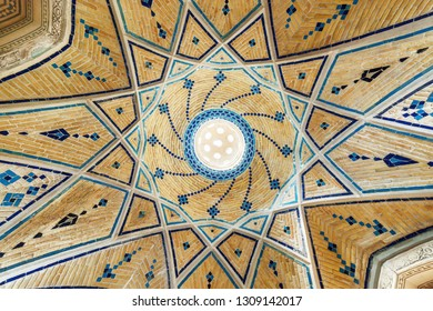 Kashan, Iran - 21 October, 2018: Beautiful ceiling decorated with blue tile in Sultan Amir Ahmad Bathhouse. Amazing details of interior in traditional Persian public bathhouse.