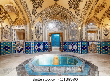 Kashan, Iran - 21 October, 2018: Wonderful view of hot bathing hall (garmkhaneh) at Sultan Amir Ahmad Bathhouse. Persian public bathhouse. Kashan is a popular tourist destination of the Middle East.