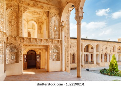 Kashan, Iran - 21 October, 2018: Beautiful interior of Mirror Hall at Tabatabaei Historical House. Wonderful Persian architecture. Kashan is a popular tourist destination of the Middle East.
