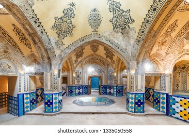 Kashan, Iran - 21 October, 2018: Hot bathing hall (garmkhaneh) at Sultan Amir Ahmad Bathhouse. Traditional Persian public bathhouse. Kashan is a popular tourist destination of the Middle East.