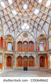Kashan, Iran - 21 October, 2018: Awesome interior of the Borujerdi Historical House. Wonderful Persian architecture. Kashan is a popular tourist destination of the Middle East.