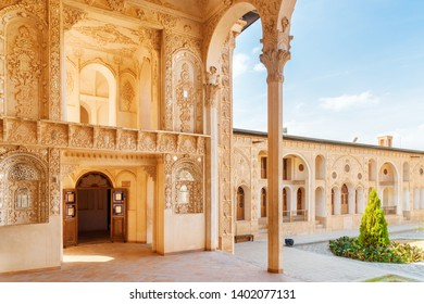 Kashan, Iran - 21 October, 2018: Gorgeous interior of Mirror Hall at Tabatabaei Historical House. Wonderful Persian architecture. Kashan is a popular tourist destination of the Middle East.