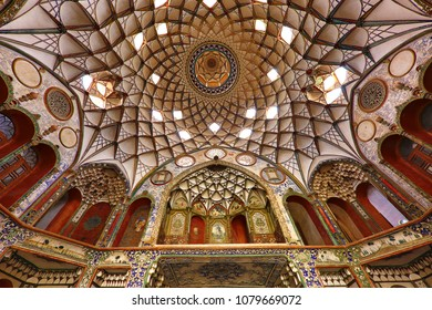 KASHAN, IRAN - APRIL 10, 2018: Dome and walls of the historical house known as Boroujerdi or Borujerdi house, in Kashan, Iran