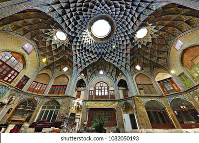 KASHAN, IRAN - APRIL 10, 2018:  Interior of the ancient bazaar in Kashan, Iran. The bazaar was built in the 13th century and restored in the 19th century by the Safavids.