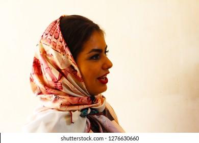 Kashan, Iran - April, 2016. Iranian woman in Fin Garden, Kashan, Iran