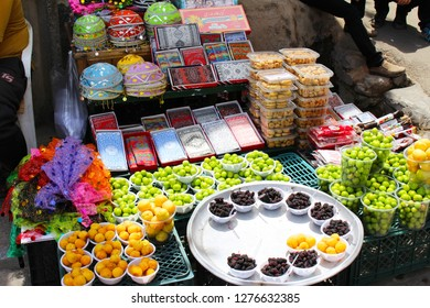 Kashan, Iran - April, 2016. Iranian fruits market near Fin Garden in Kashan, Iran