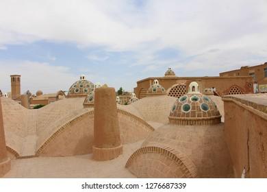 Kashan, Iran - April, 2016. The roof of Sultan Amir Ahmad Bathhouse in Kashan, Iran.