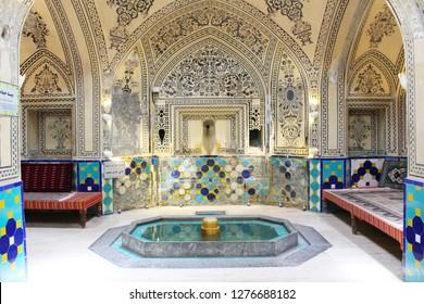 Kashan, Iran - April, 2016. Sultan Amir Ahmad Bathhouse in Kashan, Iran. It is a traditional Iranian public bathhouse in Kashan, Iran