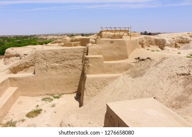 """Kashan, Iran - April, 2016. Tepe Sialk is a large ancient archeological site (a tepe, """"hill"""" or """"mound"""") in a suburb of the city of Kashan, Iran"""