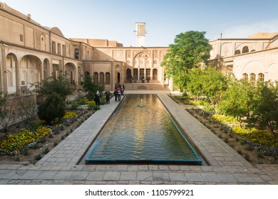 KASHAN, IRAN - April 30, 2018 : Borujerdi (Borujerdiha) house is a historic house in Kashan, Iran. The house was built in 1857 by architect Ustad Ali Maryam for the wife of Seyyed Mehdi Borujerdi
