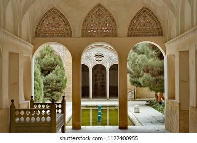 KASHAN, IRAN - April 30, 2018 : Borujerdi (Borujerdiha) house is a historic house in Kashan, Iran. The house was built in 1857 by architect Ustad Ali Maryam for the wife of Seyyed Mehdi Borujerdi