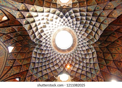 KASHAN, IRAN - August 14, 2017: The splendid interior of medieval Timche-ye Amin od-Dowleh (Aminoddole Caravanserai) great hall of the historical Grand Bazaar
