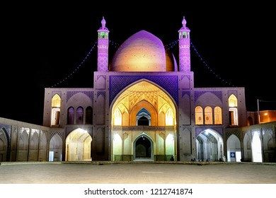 KASHAN, IRAN - AUGUST 29: Agha Bozorg mosque at night at 29 August, 2018 at Kashan, Iran. Agha Bozorg is the most beautiful historical mosque in the city.