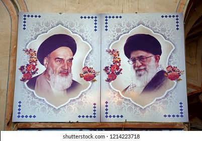 KASHAN, IRAN - AUGUST 29: Imam Khomeini and Ayatollah Khamenei at 29 August, 2018 at Kashan, Iran. Khomeini and Khamenei were the two key figures of the Islamic revolution in Iran.