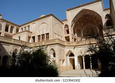 KASHAN, IRAN - AUGUST 30: Khan-e Abbasian at night at 30 August, 2018 at Kashan, Iran. Abbasian is a historical Persian mansion from Qajar era.